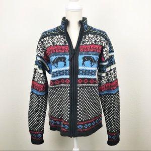 Obermeyer Fair Isle Wool Zip Up Sweater Jacket